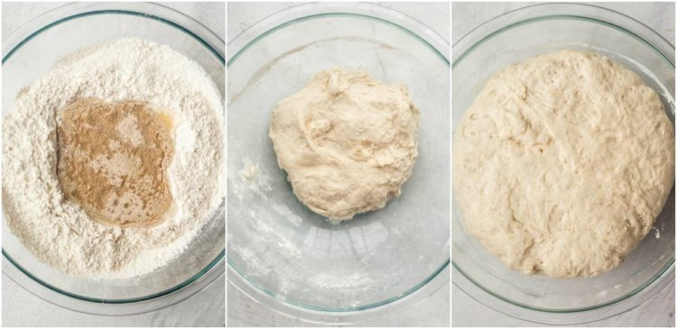 Image collage of step by step directions how to make homemade breadsticks from scratch.