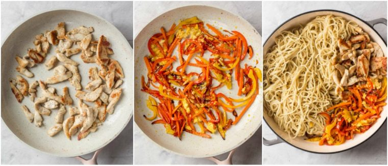 Step-by-step picture how to make lo mein recipe with chicken, vegetables and egg noodles.
