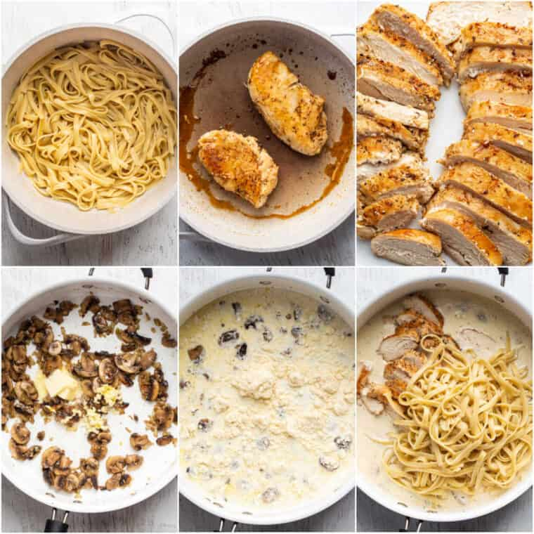 Step by step instructions on how to cook and cut chicken this chicken fettuccine Alfredo recipe.