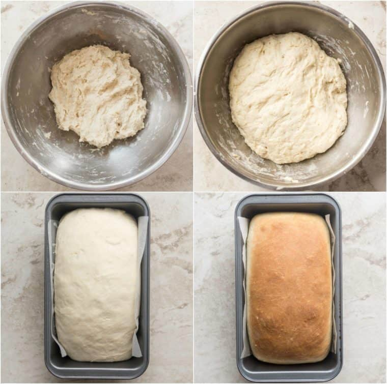 A step-by-step picture of how to make homemade white bread.