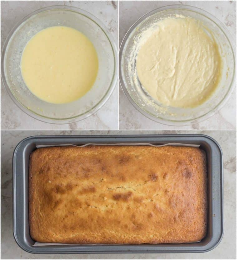 Step-by-step instructions on how to make homemade lemon loaf with cream cheese glaze.
