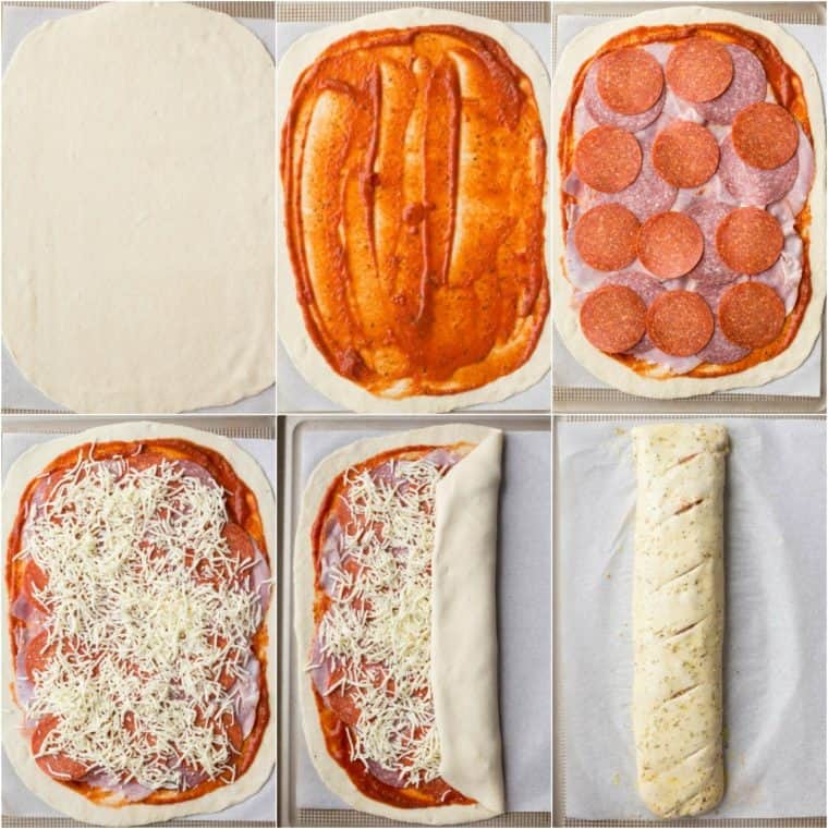Detailed collage tutorial on how to make homemade Stromboli pizza with homemade dough, marinara, sauce and meat.