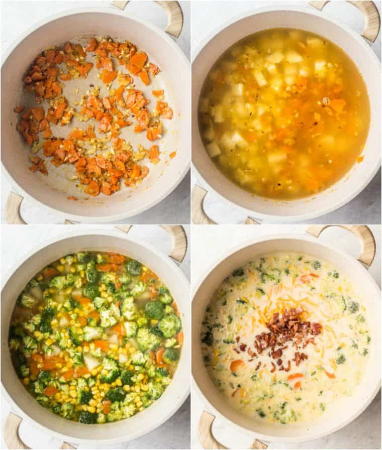 Step-by-step picture of how to make this creamy vegetable soup recipe in a Dutch oven.