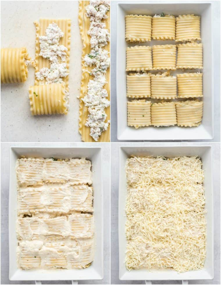 How to prepare the hearty lasagna roll-ups in a casserole dish with shredded cheese and Alfredo sauce.