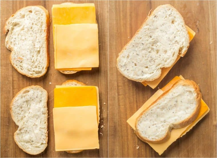Step by step collage tutorial on how to prepare the bread with butter and cheese for grilled cheese.