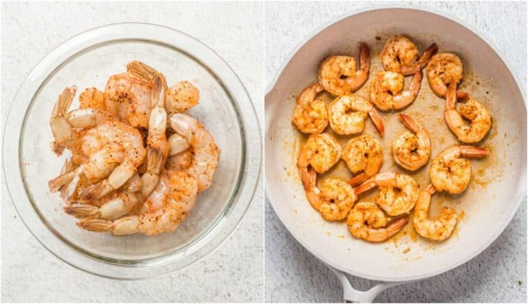 Step by step collage tutorial on how to season and saute the shrimp for this shrimp scampi recipe.