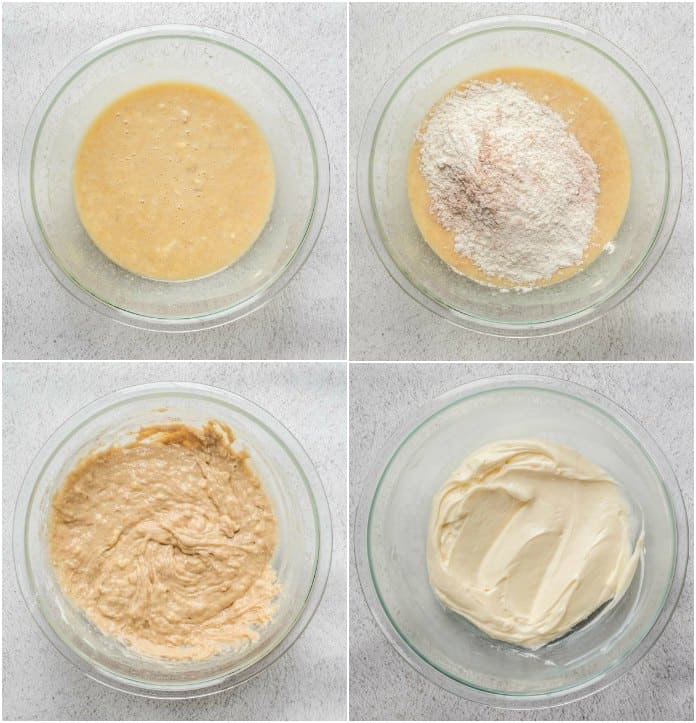 Step by step collage on  how to make the banana coffee cake batter.