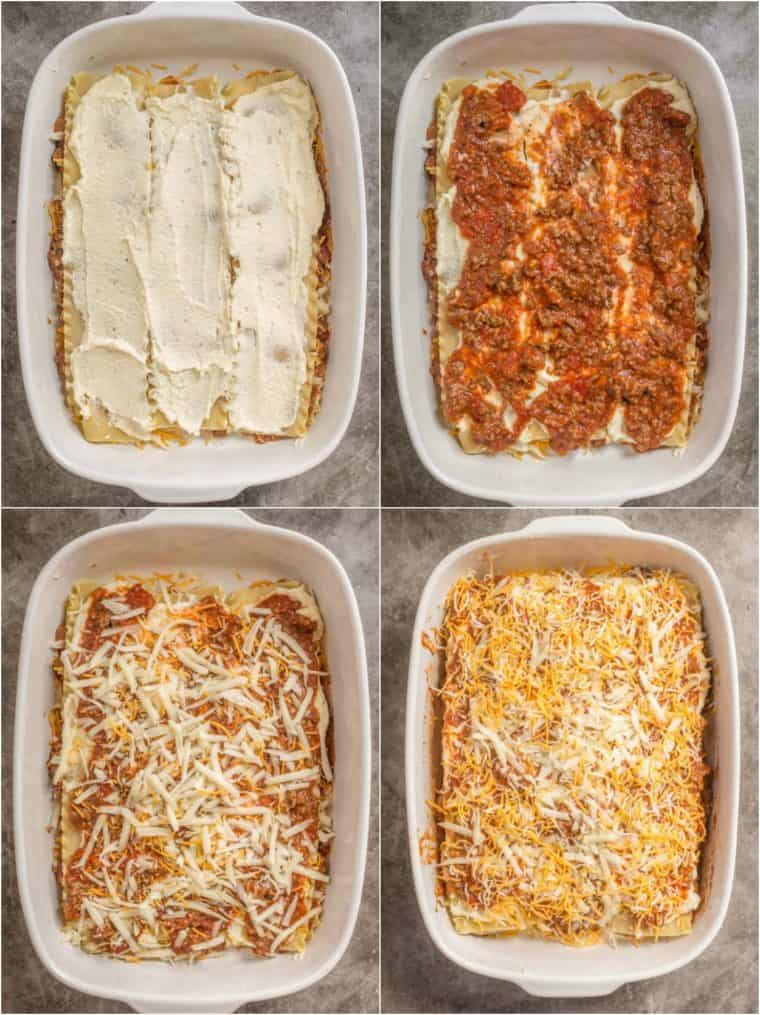 Step by step collage on how to make homemade lasagna in a white casserole dish.