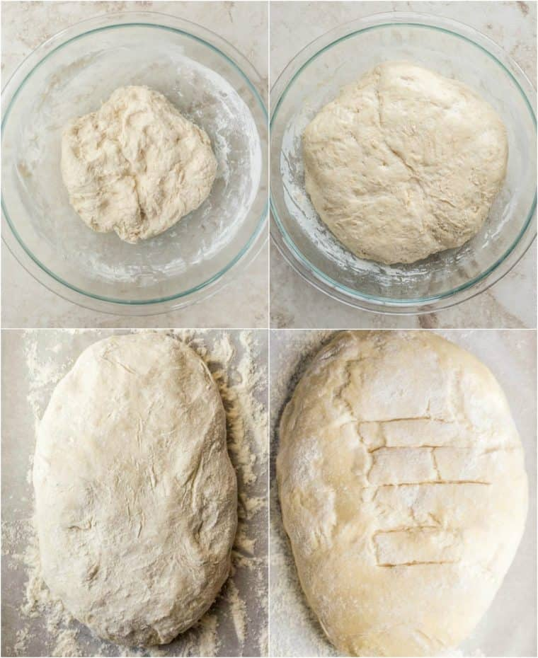 Step by step collage on how to make homemade no knead bread recipe.