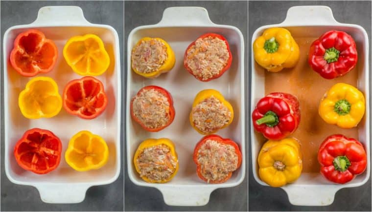 Step by step collage tutorial on how to make stuffed peppers with a beef rice filling.