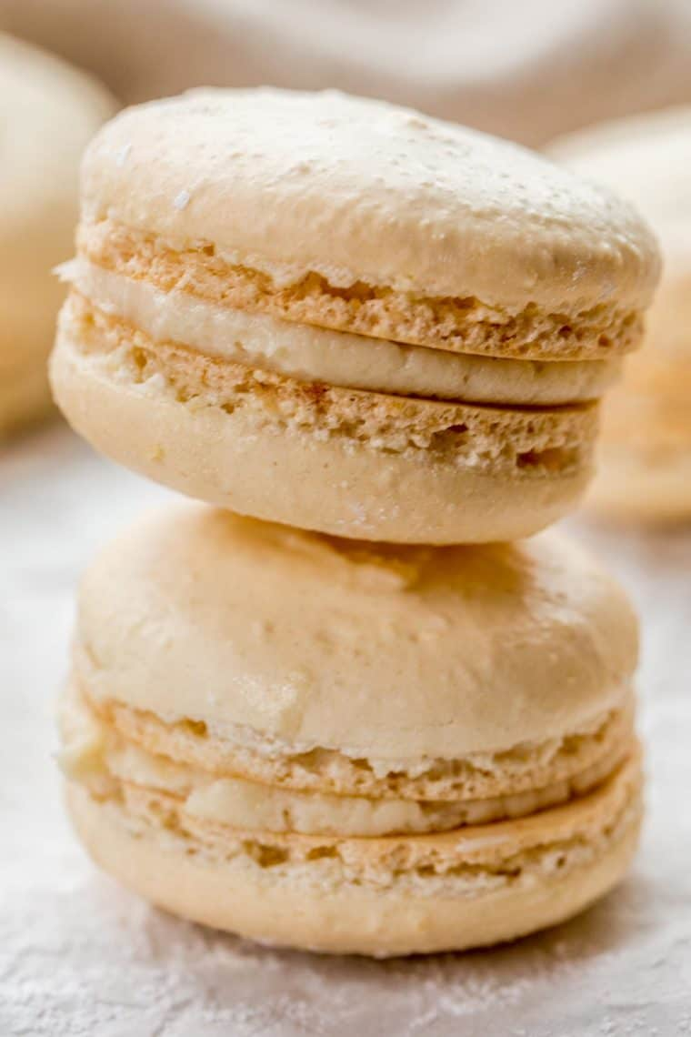 Two macarons stacked on top of each other topped with powdered sugar.