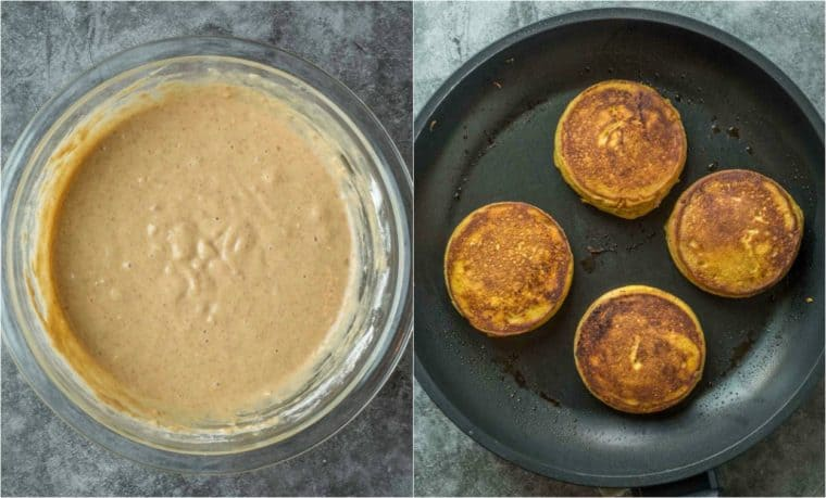 Step by step collage on how to make pumpkin pancakes from scratch with pancake batter.