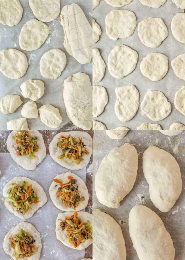 A step by step collage on how to make homemade fried piroshky.