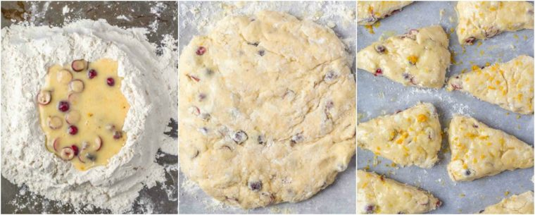 Step by step collage on how to make  cranberry scones.