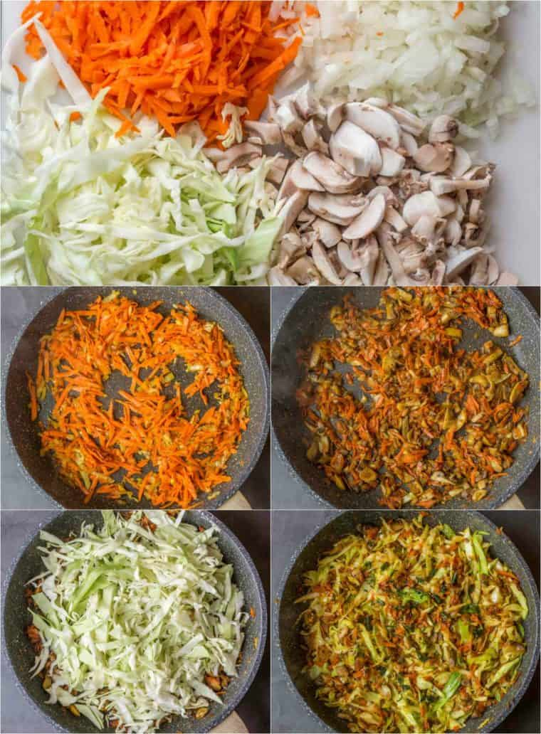 A step by step collage on how to make the juicy cabbage filling.