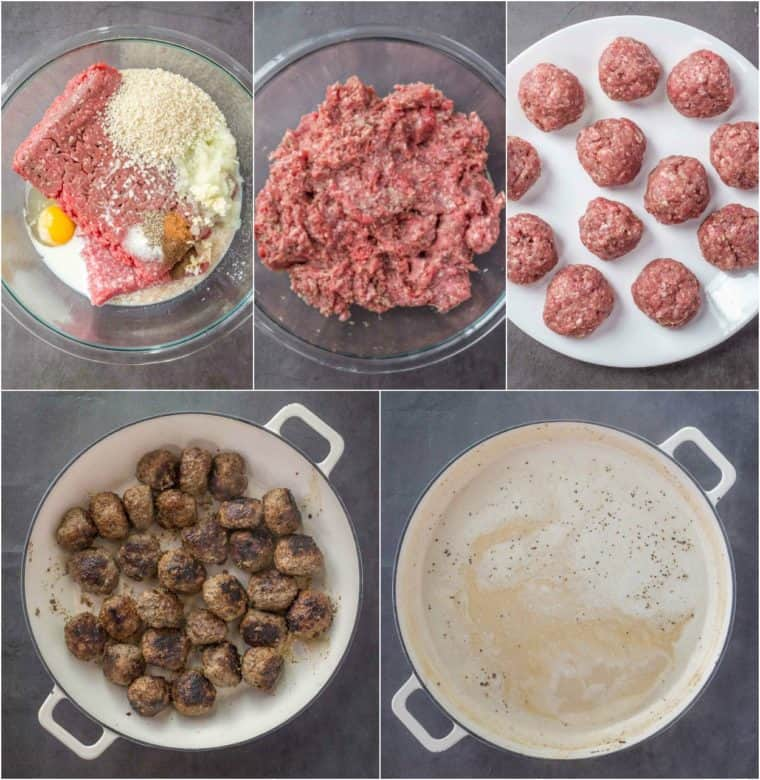Step by step collage on how to to make homemade Swedish meatballs.