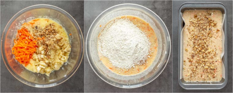 Step by step collage of how to make banana carrot bread.