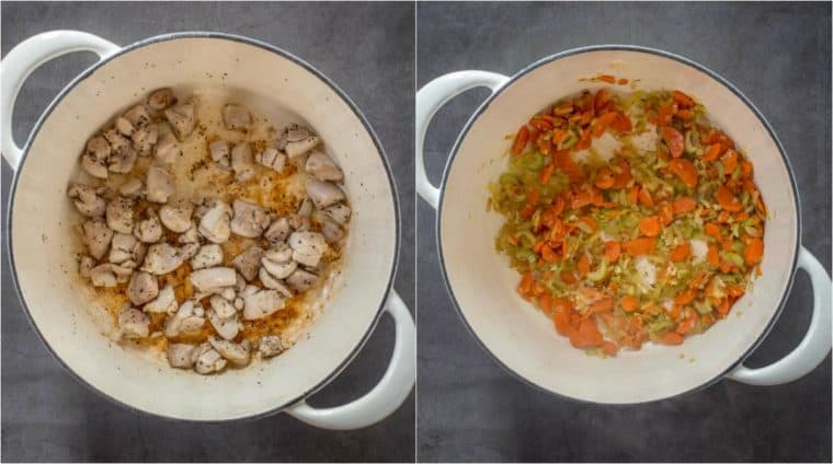 Step by step collage on how to make to make split pea soup recipe.