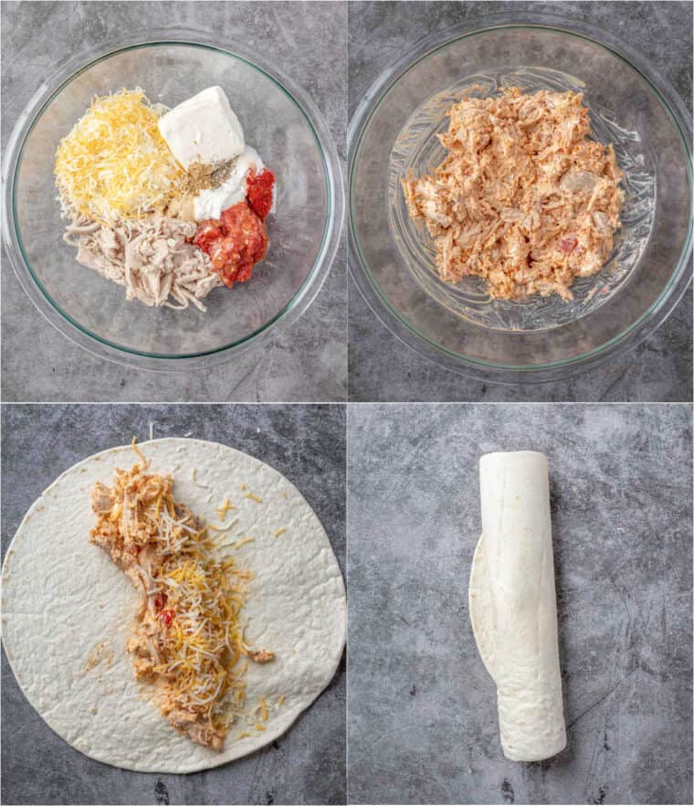 Step by step collage on how to make homemade chicken taquitos.