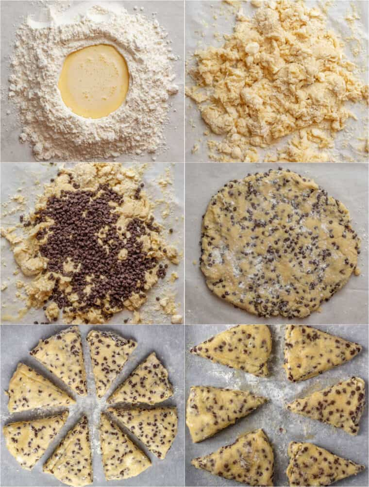 Step by step collage on how to make homemade scones loaded with chocolate chip morsels.