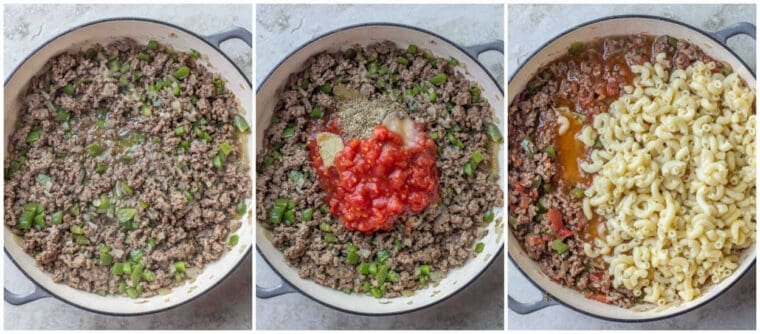 Step by step collage of how to make homemade beef goulash.