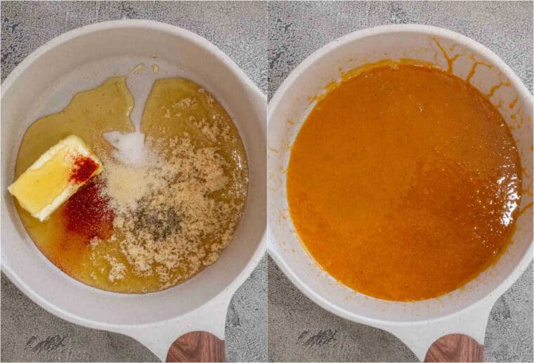 Step by step collage of how to make homemade honey baked ham glaze with honey, and brown sugar.