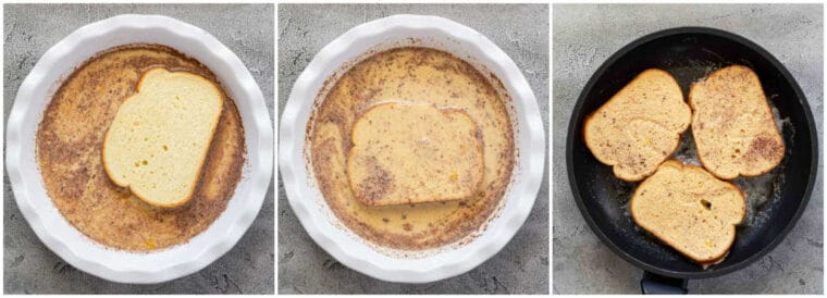 Step by step collage on how to make homemade french toast.