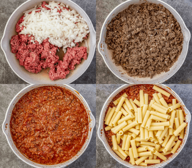 Step by step collage on how to make  homemade baked ziti recipe.