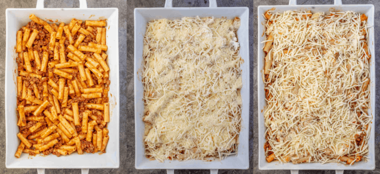 Step by step collage on how to assemble the baked ziti in a white casserole dish.