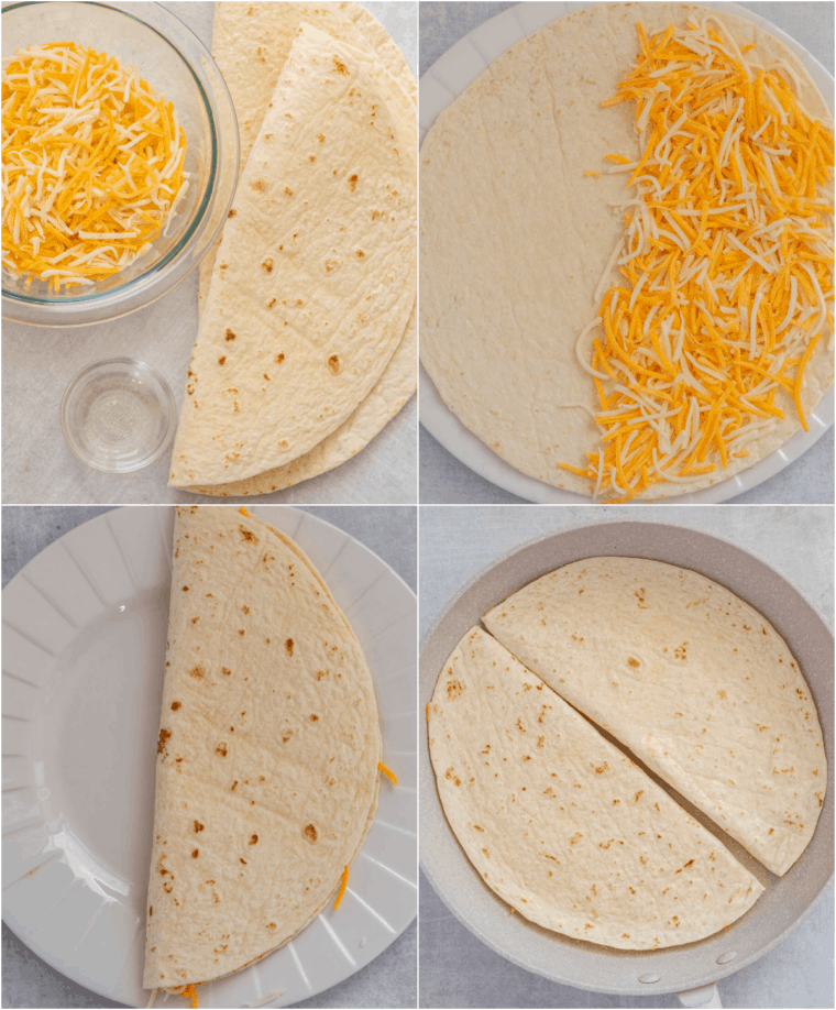 Step by step collage on how to make homemade cheese quesadillas.