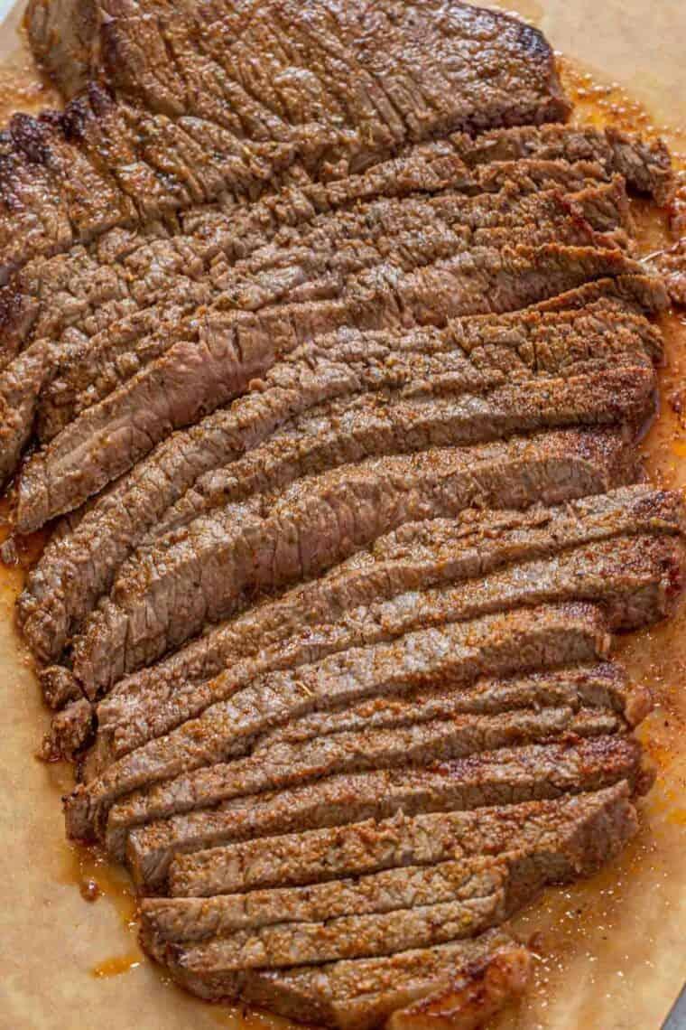 Sliced of beef steak on a cutting board.
