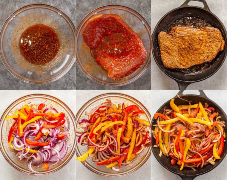 Step by step collage of how to make homemade beef steak fajitas.