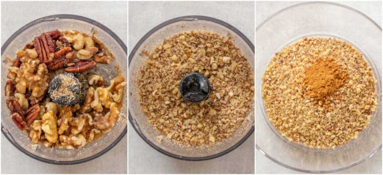 Step by step collage of how to crush and blend the walnuts and pecans for the baklava.