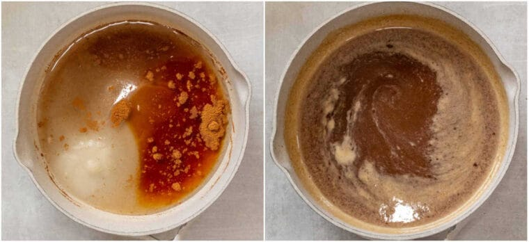 Step by step collage of how to make the sweet honey syrup for homemade Greek baklava.