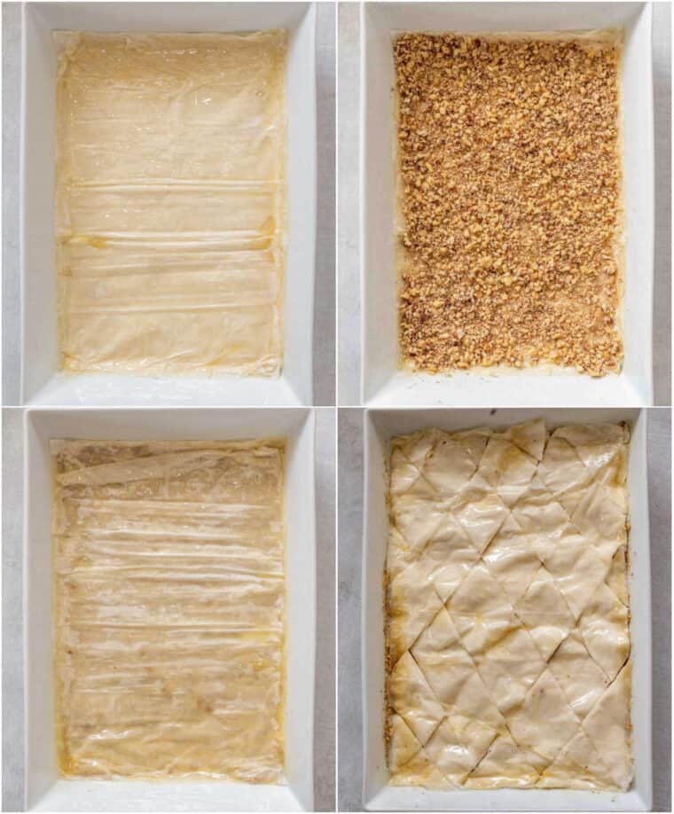 Step by step collage of how to assemble the baklava dessert in a white casserole dish.