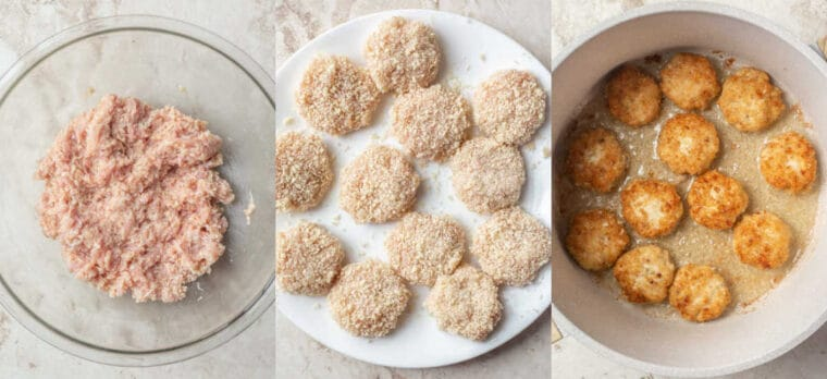 Step by step collage on how to make homemade chicken nuggets.