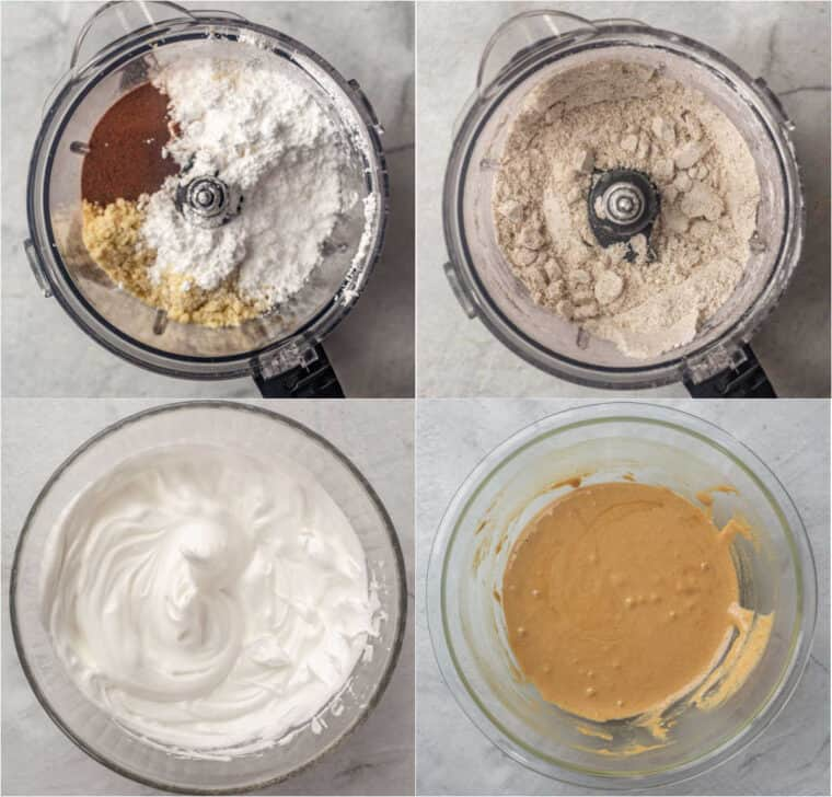 Step by step collage on how to make homemade coffee macarons from scratch.