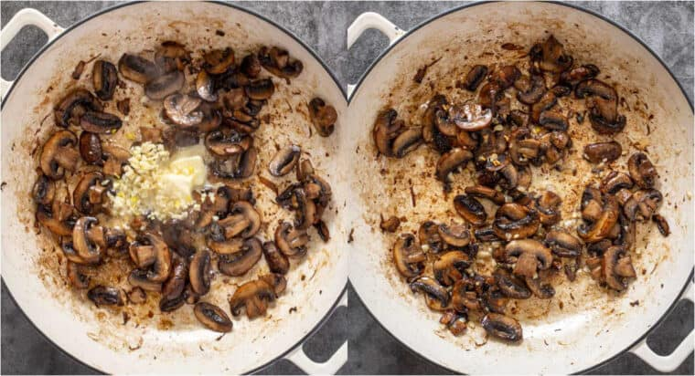 Step by step collage of how to saute mushrooms for creamy mushroom sauce recipe.