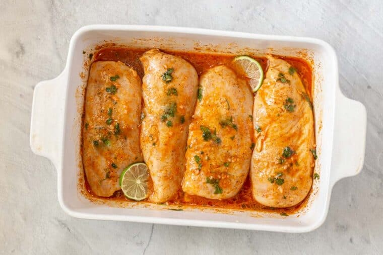 Step by step instructions of how to make homemade cilantro lime chicken.