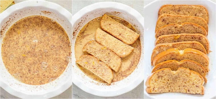 Step by step collage of how to make homemade cinnamon French toast sticks.