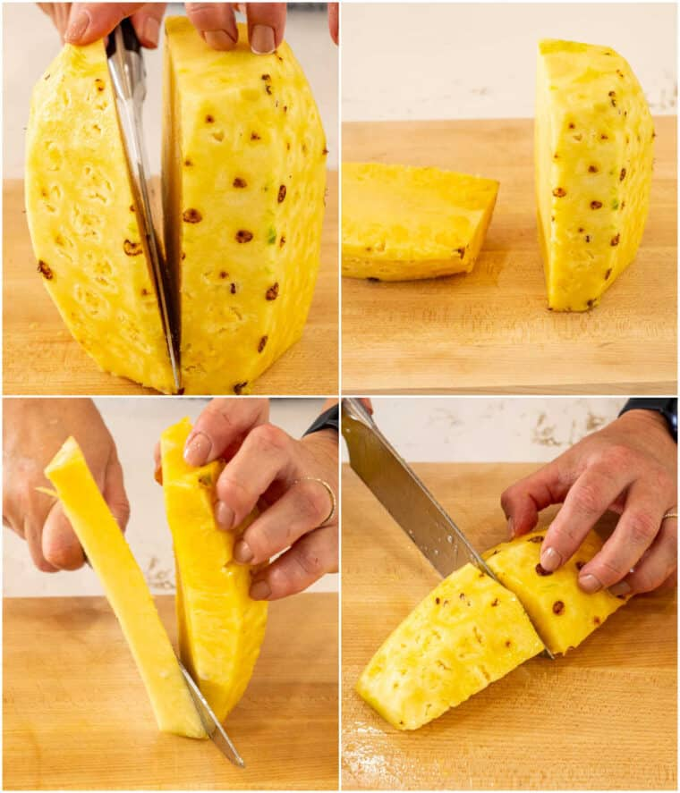Step by step tutorial on how to cut pineapple into four different ways.