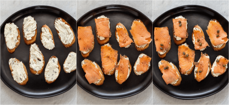Step by step collage of how to assemble this easy smoked salmon appetizer recipe.