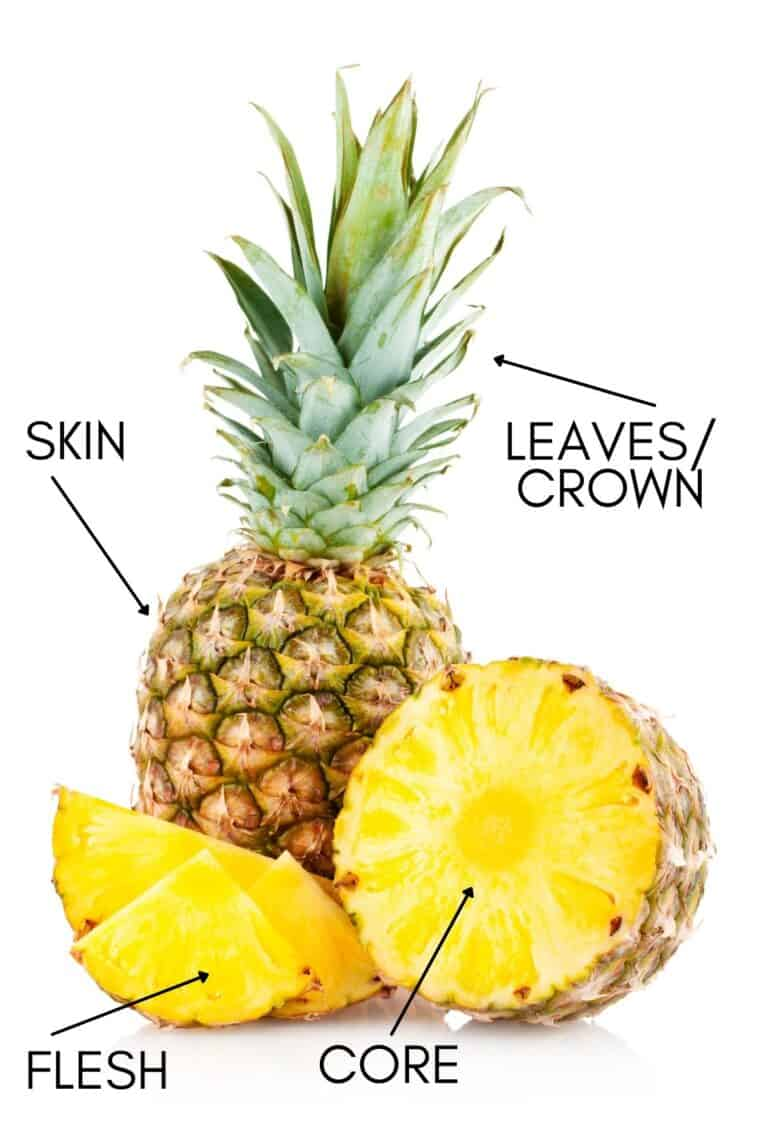 An entire pineapple next to another cut up pineapple detailing the different parts of a pineapple.