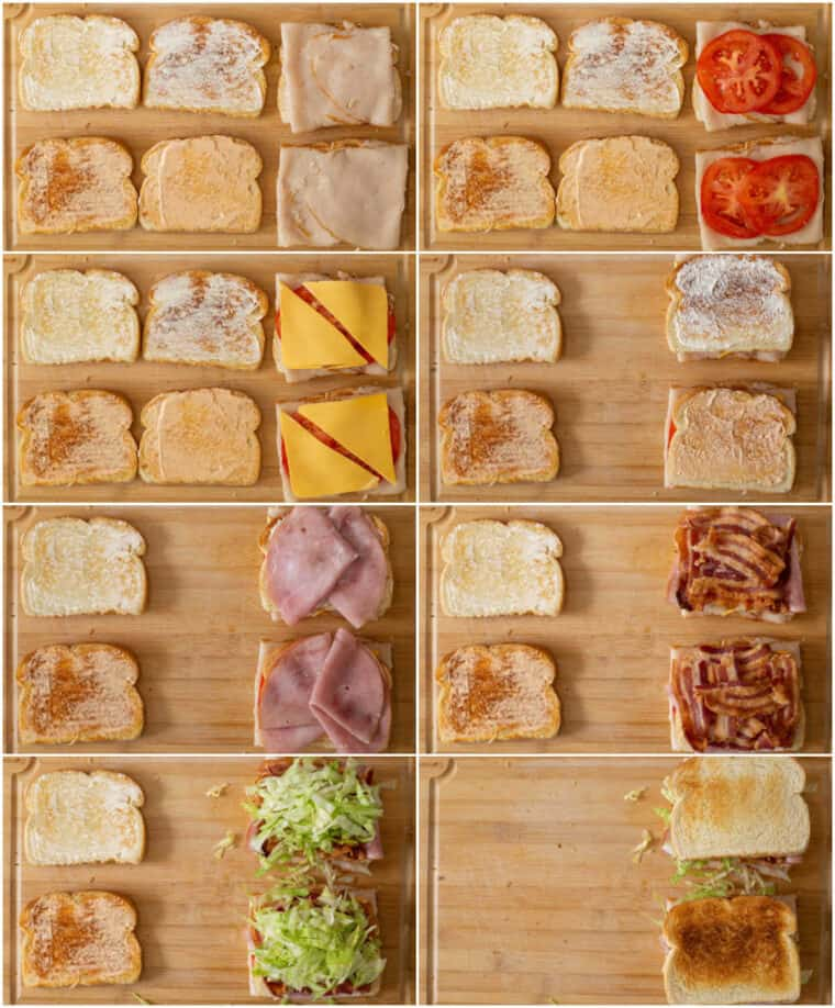 Step by step collage on how to make a club sandwich from scratch.