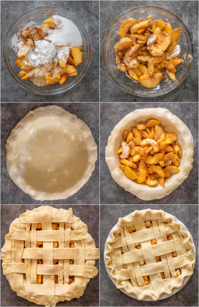 Step by step collage of how to make homemade peach pie with fresh peaches.
