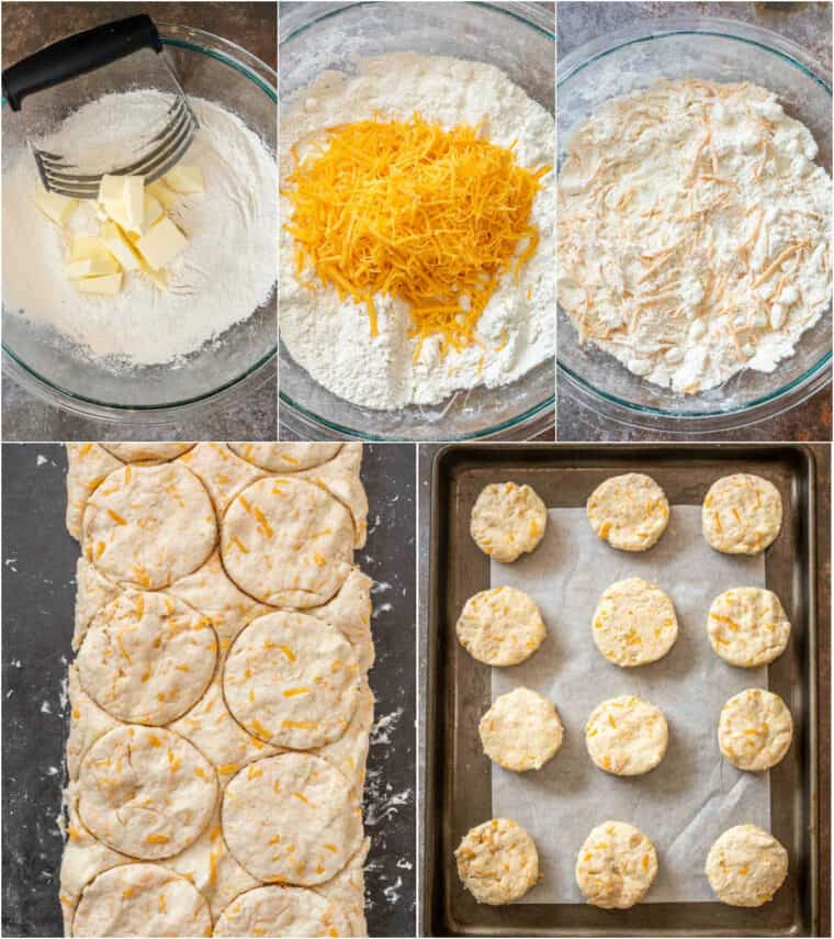 Step by step collage of how to make homemade cheddar biscuits.